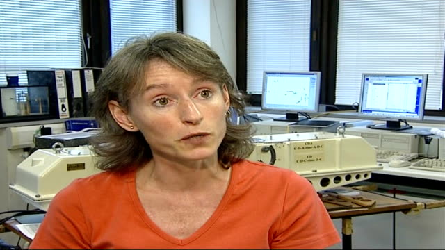 hole in ozone layer may be shrinking; dr anna jones interview sot england: location unknown: int - explains that what has been done for the hole in... - ozone layer stock videos & royalty-free footage