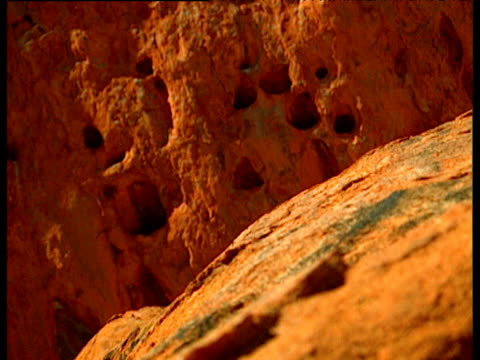 holes in surface of uluru under clear blue sky australia - felswand stock-videos und b-roll-filmmaterial