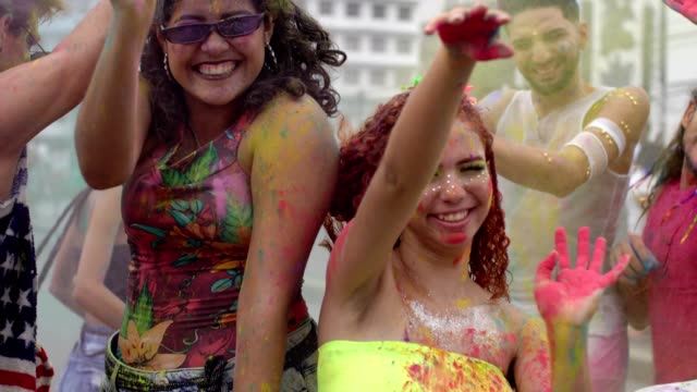 holi color street party - body paint stock videos & royalty-free footage