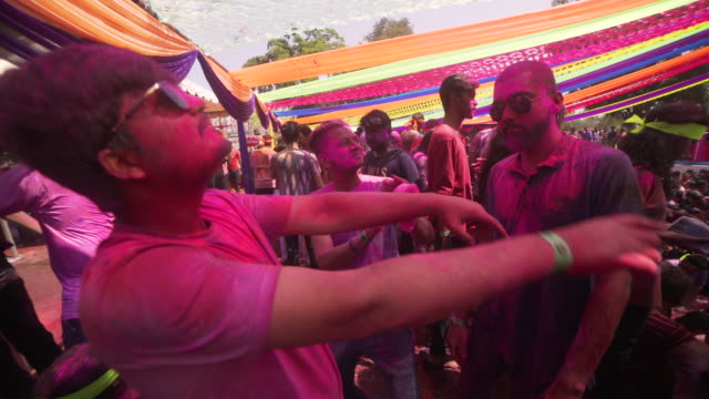 holi festival party at india, chennai - bollywood stock videos and b-roll footage