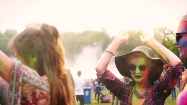 holi/ krakow/ poland - powder paint stock videos & royalty-free footage