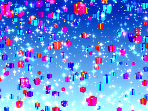Holiday, Birthday, Christmas falling gifts background - loopable, PAL