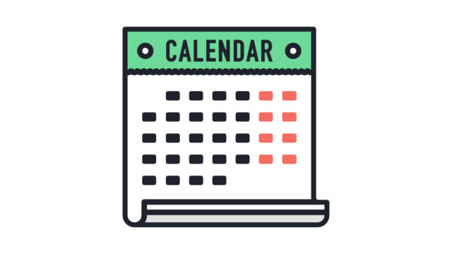 Holiday Calendar Flat Line Icon Animation with Alpha