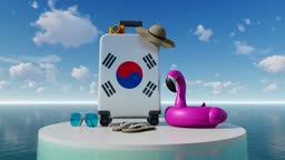 3D Holiday Concept With South Korean Flag Suitcase Against Sea And Sky