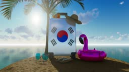 3D Holiday Concept With South Korean Flag Suitcase Against Sea And Sunny Sky