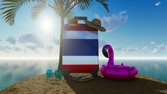 stockvideo's en b-roll-footage met 3d vakantieconcept met thaise vlagkoffer tegen overzees en zonnige hemel - sunny