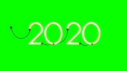 2020 holiday flickering neon sign, seamless loop, Green Screen Chromakey