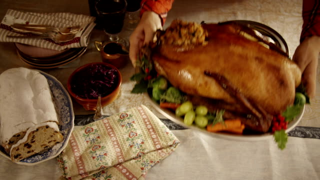 holiday goose dinner - goose stock videos & royalty-free footage
