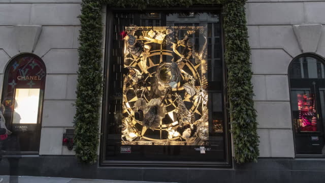 holiday window display at bergdorf goodman and macy's department stores in new york city, u.s., on monday, nov 25, 2019. - bergdorf goodman stock videos & royalty-free footage