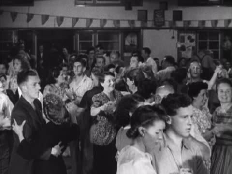 holidaymakers at the coronation holiday camp on hayling island dance in the resorts ballroom. - holiday camp stock videos & royalty-free footage