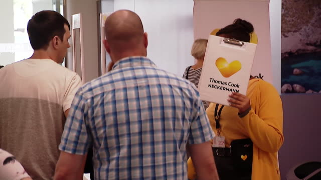 holidaymakers booked through thomas cook arriving at palma airport in majorca to start their holiday the day before the travel firm went into... - majorca stock videos & royalty-free footage