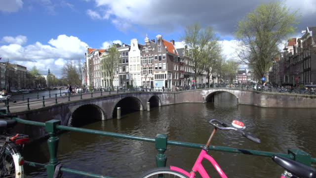 Holland, Amsterdam, Keizersgracht and Leidesegracht canals and typical Amsterdam style houses