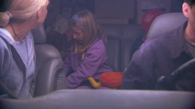 holland, michigangirl playing with stuffed toy in car, front view - stuffed stock videos & royalty-free footage