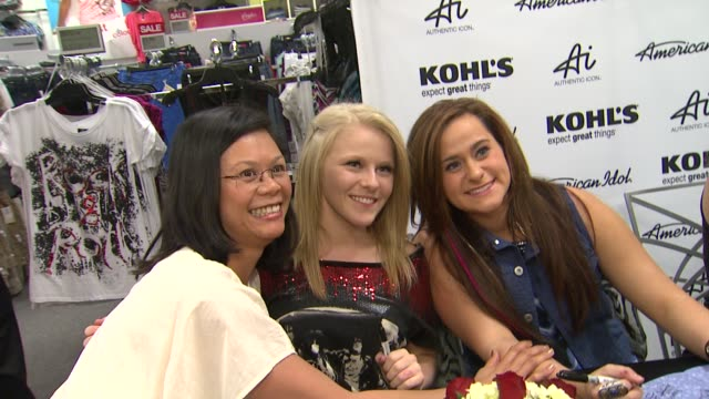 hollie cavanagh and skylar laine at american idol season 11 contestants appear at los angeles kohl's for american idol's 'authentic icon collection... - american idol stock videos and b-roll footage