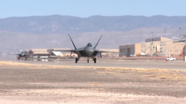 holloman's last f-22 sortie landing and 49th wing commander col. andrew croft's final flight - croft stock videos & royalty-free footage
