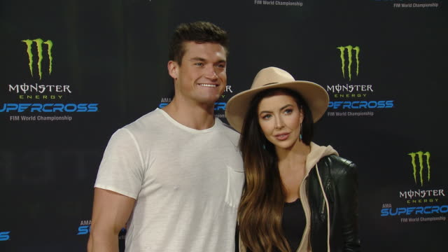 holly allen and jackson michie at monster energy supercross vip event at angel stadium on january 18 2020 in anaheim california - angel stadium stock videos & royalty-free footage