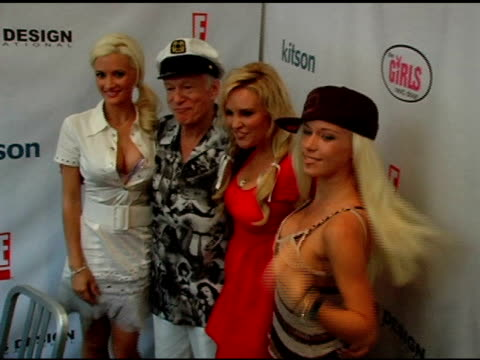 holly madison hugh hefner bridget marquardt and kendra wilkinson at the girls next door by holly madison jewelry collection unveiling on july 29 2006 - hugh hefner stock videos & royalty-free footage