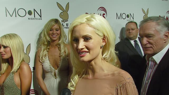 holly madison on being at the opening being there with hugh hefner at the the playboy club vip grand opening at the palms hotel and casino at the... - hugh hefner stock-videos und b-roll-filmmaterial