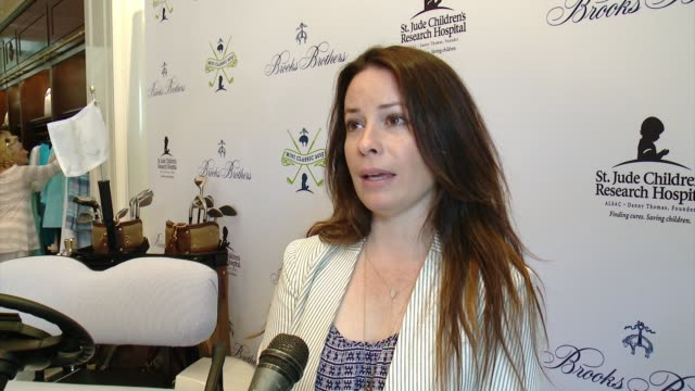interview holly marie combs on why she wanted to support brooks brothers st judes at brooks brothers hosts mini classic golf tournament to benefit st... - st. jude children's research hospital stock videos and b-roll footage