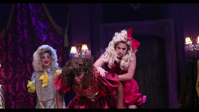 """holly stars, courtney act and monet x change during the """"death drop"""" dress rehearsals at garrick theatre on december 3, 2020 in london, england. - reality tv stock videos & royalty-free footage"""