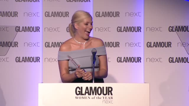 interview holly willoughby on winning tv personality award not getting drunk again at glamour women of the year awards uk on june 07 2016 in london... - awards ceremony stock videos and b-roll footage