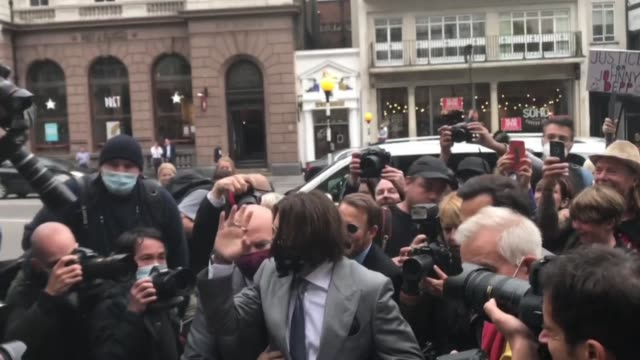 hollywood actor johnny depp arrives at the high court in london on july 16 2020 for hearing over the sun's claim that the star abused his exwife... - johnny depp stock videos & royalty-free footage