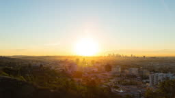 Hollywood and Los Angeles Sunrise Timelapse