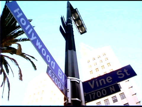 hollywood and vine street sign in california - hollywood boulevard stock videos & royalty-free footage