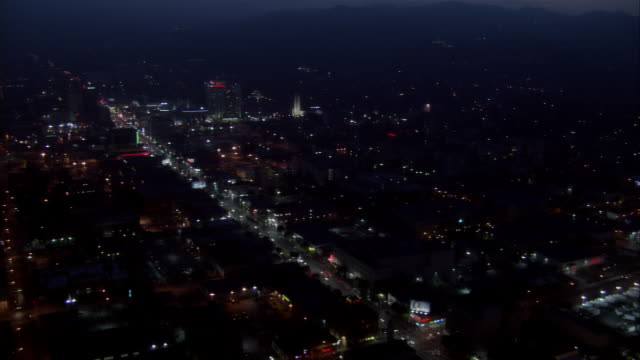 aerial, hollywood at night, california, usa - anno 2006 video stock e b–roll