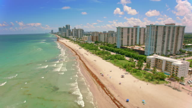 aerial hollywood beach along the atlantic ocean, florida - hollywood florida stock videos & royalty-free footage