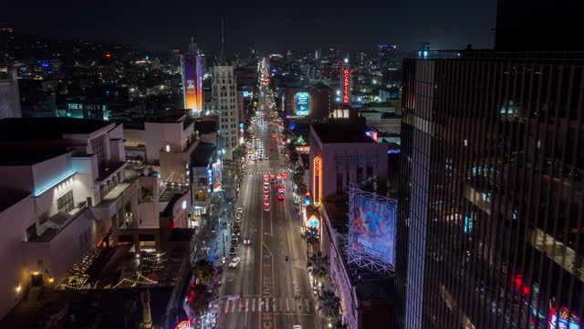 vidéos et rushes de hollywood boulevard aerial hyperlapse - the dolby theatre
