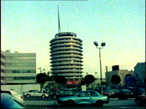Hollywood Boulevard and Capitol Records shot on film partially in timelapse circa late 1990's