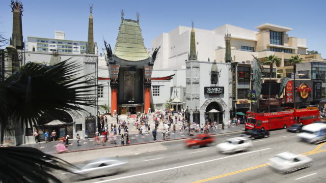 stockvideo's en b-roll-footage met hollywood boulevard, hollywood walk of fame, grauman's chinese theatre, los angeles, california, united states of america, time-lapse - hollywood walk of fame