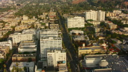 AERIAL Hollywood Boulevard in Los Angeles, California towards the Laurel Canyon
