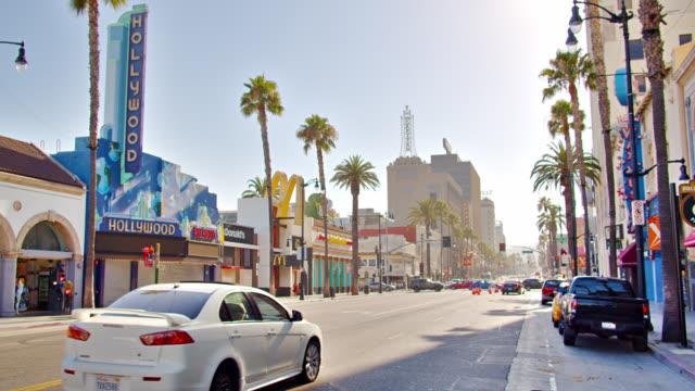 hollywood boulevard. sunny. palm tree. - hollywood boulevard stock videos & royalty-free footage
