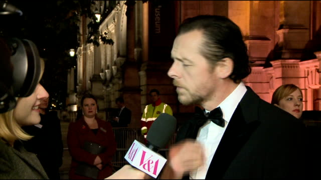 VA 'Hollywood Costume' exhibition Red carpet arrivals Simon Pegg out of car and along red carpet Simon Pegg interview SOT Pegg speaking to press