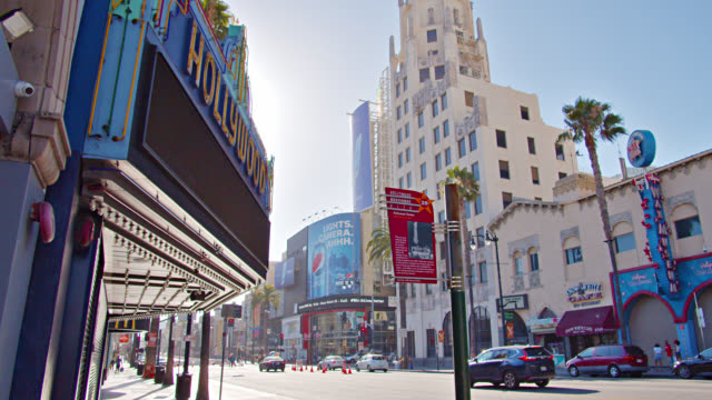 hollywood district in los angeles. skyline. low angle. - fame stock videos & royalty-free footage