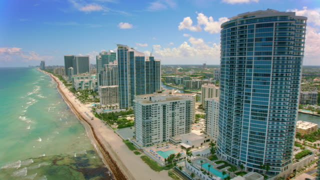 aerial hollywood, florida - coastline stock videos & royalty-free footage