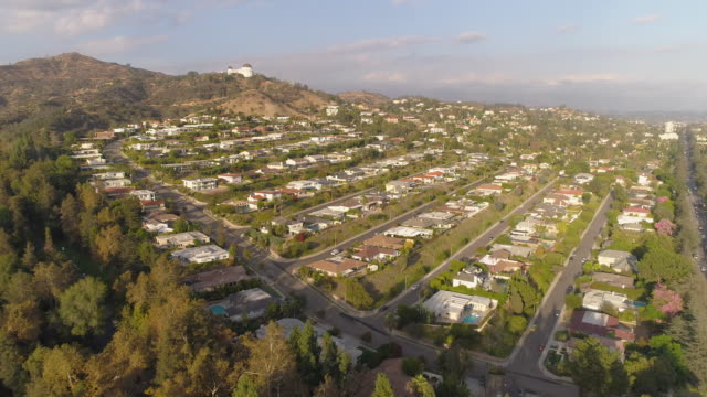 hollywood hills aerial griffith observatory - griffith observatory stock videos & royalty-free footage