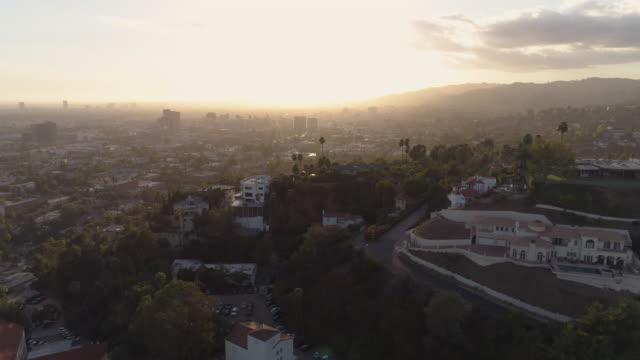 Hollywood Hills aériennes palmiers