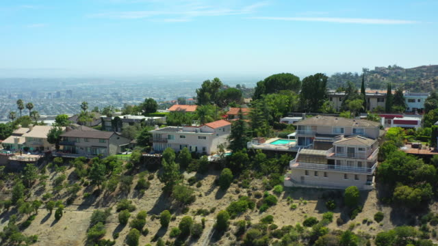 hollywood hills aerial - aircraft point of view stock videos & royalty-free footage