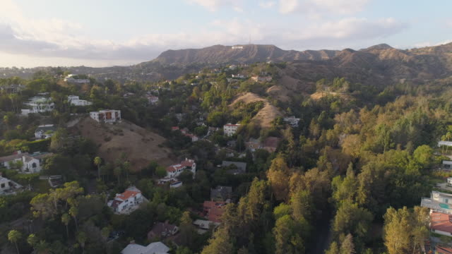 hollywood hills aerial - hollywood california stock videos & royalty-free footage