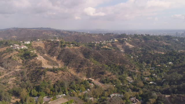 hollywood hills aerial - canyon stock videos & royalty-free footage
