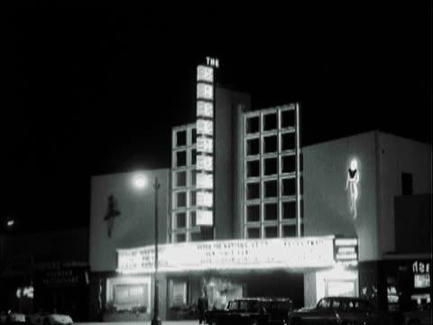 ws hollywood palladium lit up at night / los angeles, california, united states - hollywood palladium stock videos & royalty-free footage