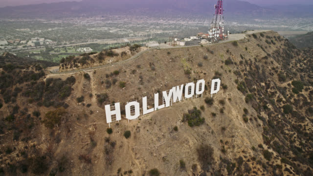 hollywood sign aerial shot - hollywood stock videos & royalty-free footage