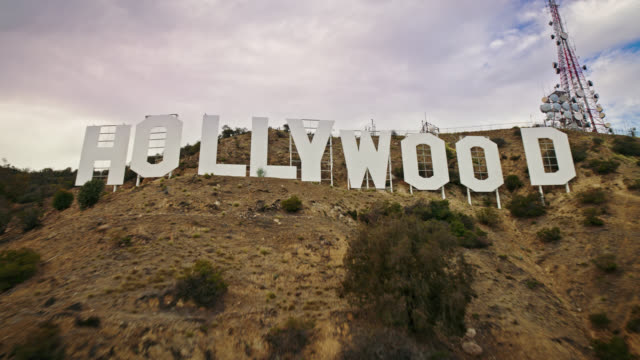 hollywood sign aerial shot - hollywood sign stock videos & royalty-free footage