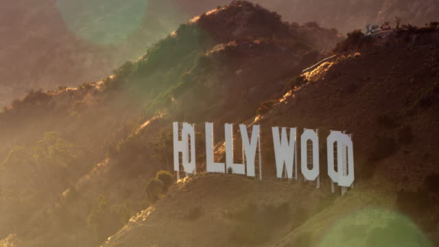 AERIAL Hollywood sign in LA in sunshine