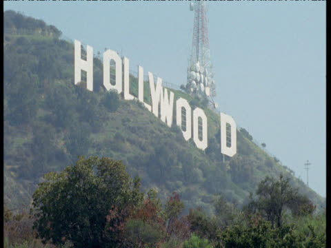 hollywood sign on hills over los angeles - hollywood california stock videos & royalty-free footage