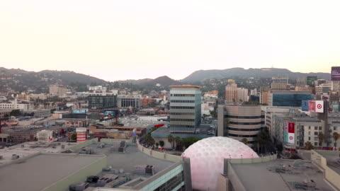 hollywood skyline - aerial drone shot - arclight cinemas hollywood stock videos & royalty-free footage