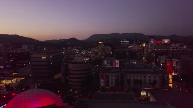 hollywood skyline - aerial drone shot - cinerama dome hollywood stock videos & royalty-free footage
